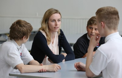 School students and a business mentor - West of England Mentoring